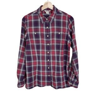 Duluth Trading Womens Small Plaid Flannel Shirt Button Front Vented